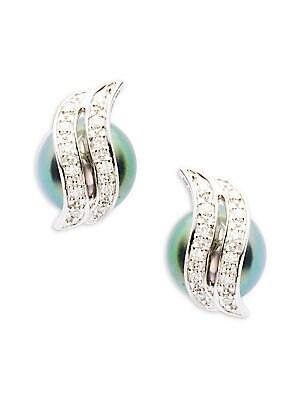 14K White Gold, Pearl & Diamond Stud Earrings
