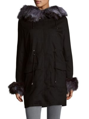 Fox  Rabbit Fur Parka Peri Luxe