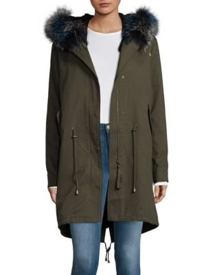 Hooded Bullet Cotton Fur Parka Peri Luxe
