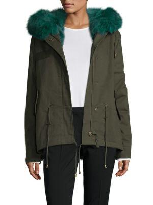 Hooded Cotton Fox Fur Parka Peri Luxe