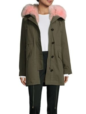 Hooded Washed Cotton Fur Parka Peri Luxe