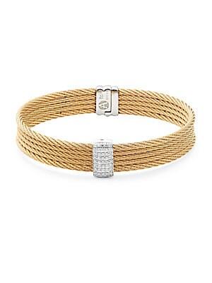 18K Gold & Stainless Steel Bangle Bracelet