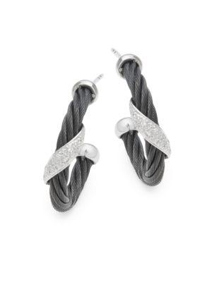 18K White Gold  Sterling Silver Diamond Studded Earrings Alor