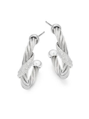 18K White Gold  Stainless Steel Diamond Hoop Earrings Alor