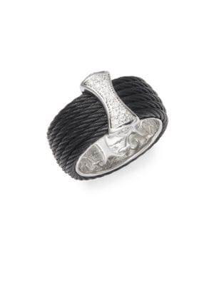 Cable 18K White Gold  Sterling Silver Diamond Band Ring Alor