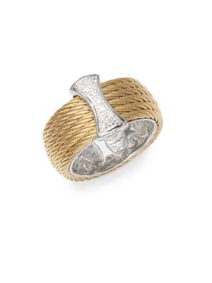 18K Gold  Stainless Steel Diamond Band Ring Alor