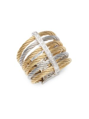 18K Gold  Stainless Steel Diamond Midi Ring Alor
