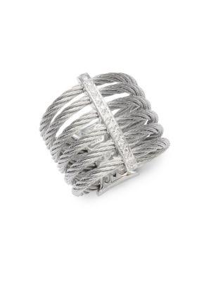 Cable 18K White Gold  Sterling Silver Diamond Midi Ring Alor