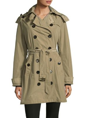 Hooded Double-Breasted Coat Burberry