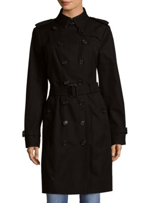 Back Overlay Cotton Long Double-Breasted Coat Burberry