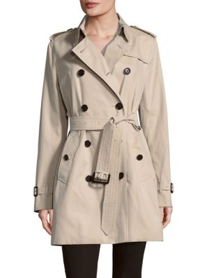Belted Cotton Double-Breasted Coat Burberry