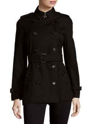 Back Overlay Cotton Double-Breasted Coat Burberry