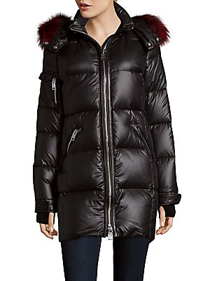 Whistler Leather and Fur-Trimmed Zip-Front Coat