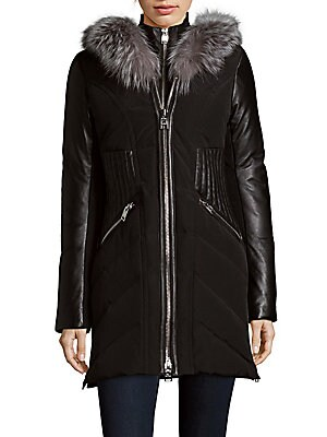 Leather and Fur-Trimmed Zip-Front Jacket