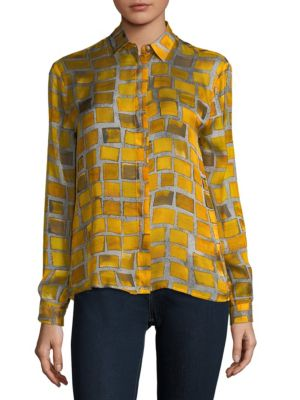 Silk Check Print Shirt