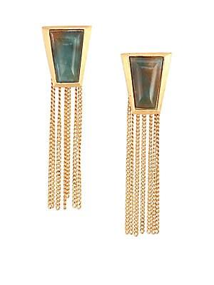 Impose Green Moss Agate Chain Fringe Earrings