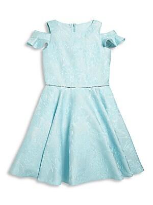 Girl's Ruffled Cold Shoulder Dress