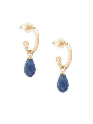 SAPPHIRE AND 14K GOLD DROP EARRINGS