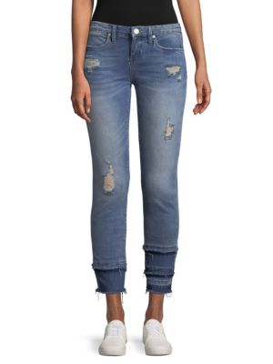 Distressed Paneled Jeans