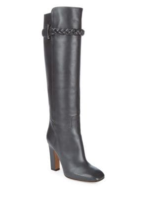 Tall Square Toe Leather Boots