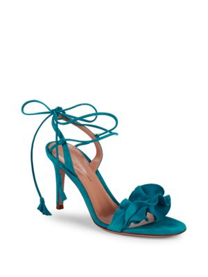 RUFFLE SUEDE ANKLE-WRAP SANDALS
