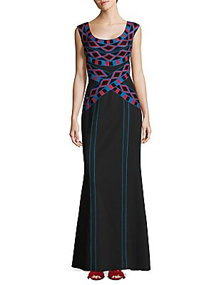 Geometric Print Mermaid Gown