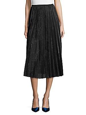 Metallic Pleated A-Line Skirt