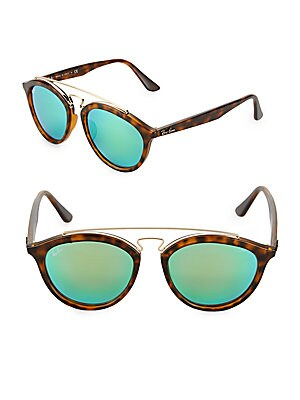 55MM Rounded Tortoiseshell Sunglasses