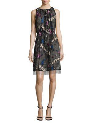 Embroidered Floral Blouson Dress T Tahari