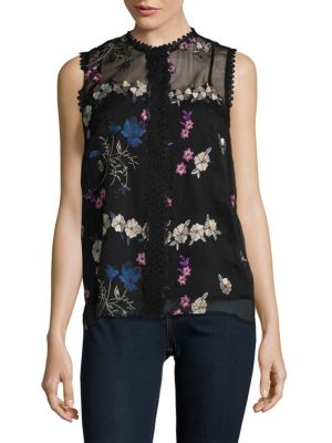 Floral Embroidered Shell T Tahari