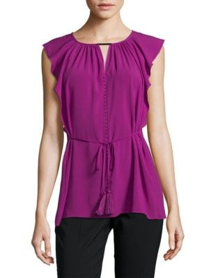 Selina Beaded Flutter Top T Tahari
