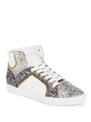 Embellished High-Top Leather Sneakers
