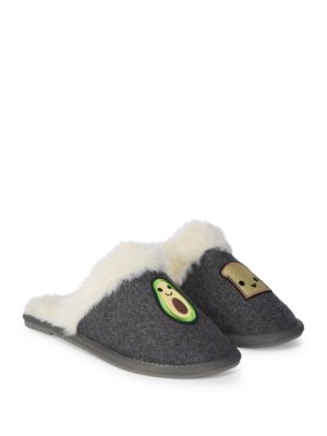 Embroidered Faux Fur Slippers