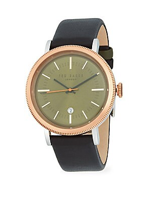 CONNOR STAINLESS STEEL LEATHER STRAP WATCH