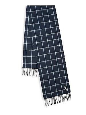 Windowpane Plaid Wool Scarf