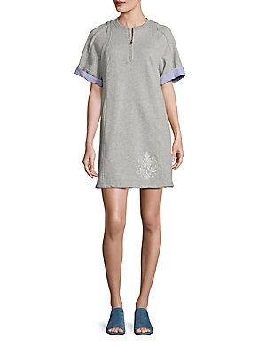 3.1 PHILLIP LIM Embroidered Cotton French Terry Tunic Dress in Grey Melange