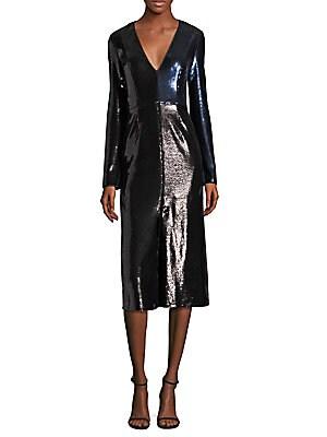 Paneled Metallic Sequined Dress