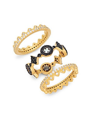 Crystal and Goldplated Slated Triple Stackable Ring