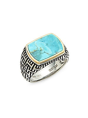 Men's Sterling Silver Turquoise Cocktail Ring