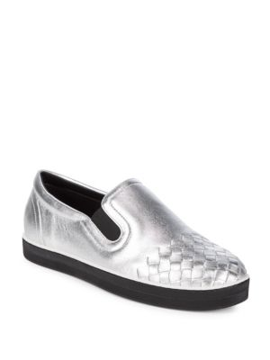 Woven Leather Slip-On Shoes