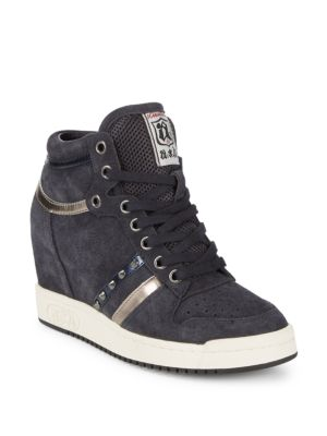 Prince Leather Wedge Sneakers
