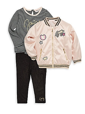 Baby's Three-Piece Bomber Jacket, Top and Leggings Set