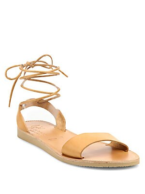 Pietra Leather Ankle-Wrap Sandals