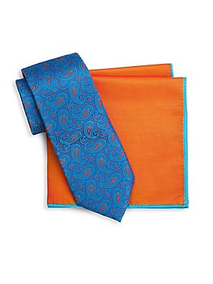 Two-Piece Paisley Silk Tie and Pocket Square Set