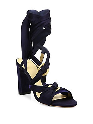 Alessa Silk & Suede Wrap Sandals