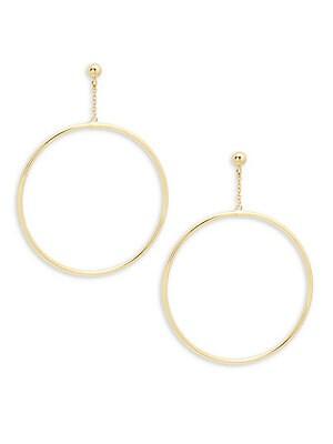 14K Yellow Gold Hoop Chain Earrings