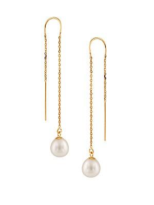 Masako Pearls 7.5-8MM White Drop Pearl & 14K Yellow Gold U-Threader Chain Earrings