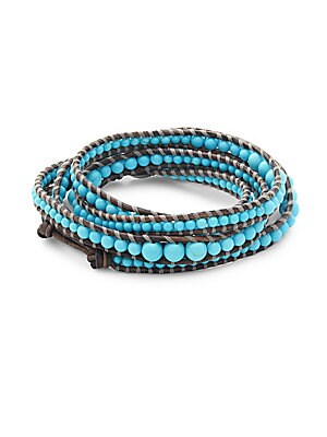 Turquoise, Sterling Silver, And Leather Multi-Strand Wrap Bracelet