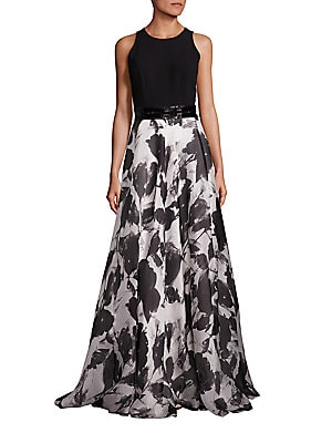 Beaded Belt Floral Silk-Blend Gown