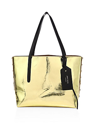 Twist East/West Two-Tone Metallic Leather Tote